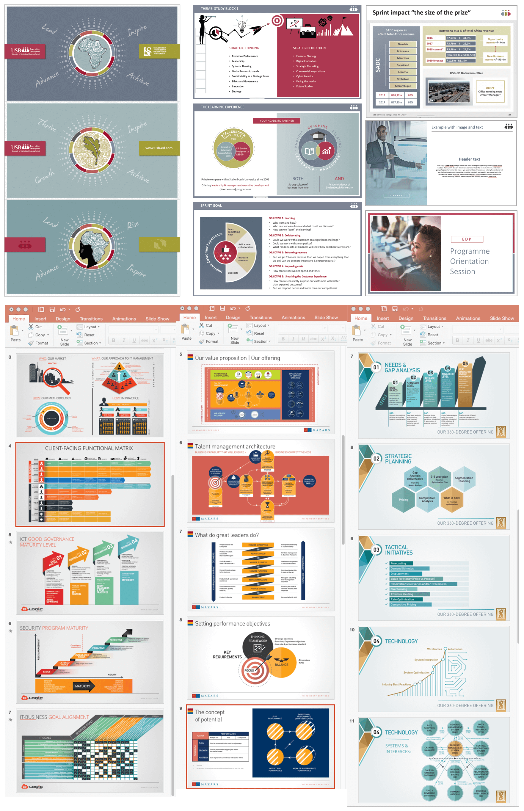 Powerpoint Slide Decks: Samples from various clients - used
